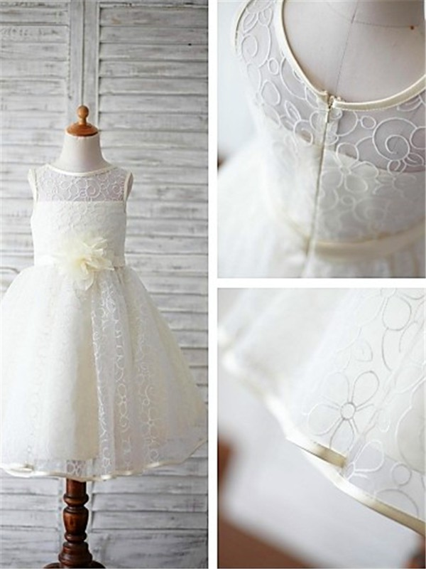 Ball Gown Scoop Lace Sleeveless Floor-Length Flower Girl Dresses