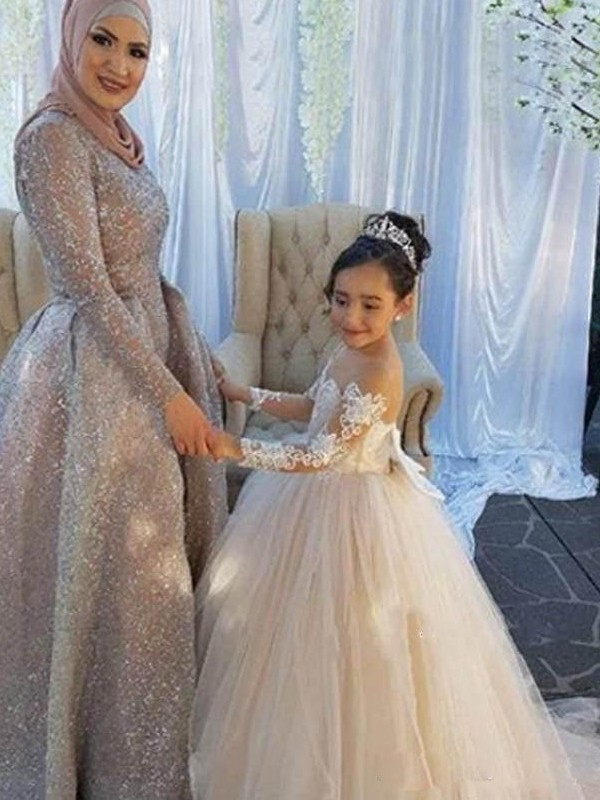 Ball Gown Off-the-Shoulder Tulle Long Sleeves Sweep/Brush Train Flower Girl Dresses