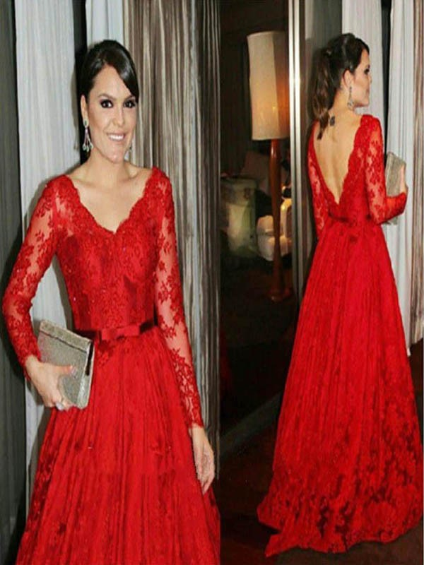 Ball Gown V-neck Lace Long Sleeves Sweep/Brush Train Mother of the Bride Dresses