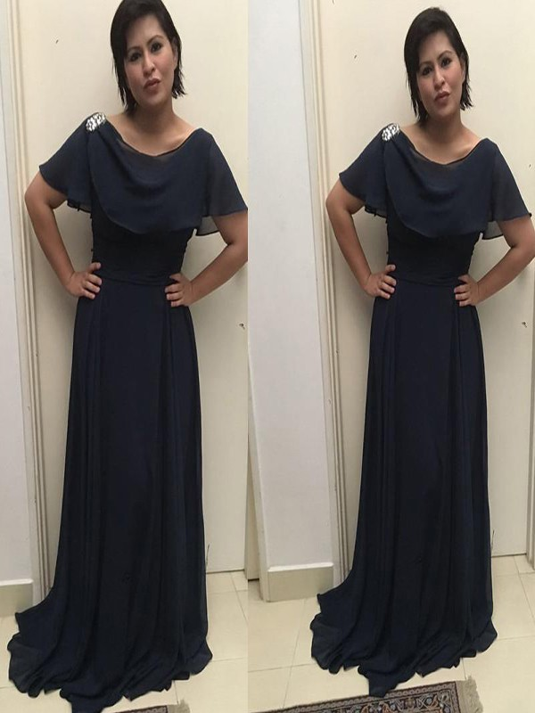 A-Line/Princess Scoop Chiffon Short Sleeves Sweep/Brush Train Mother of the Bride Dresses