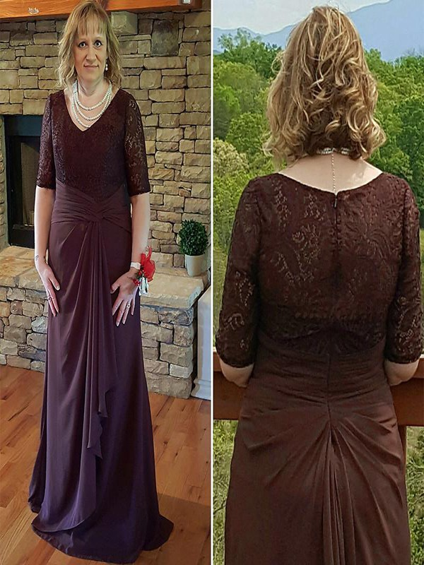 A-Line/Princess V-neck Chiffon 1/2 Sleeves Sweep/Brush Train Mother of the Bride Dresses