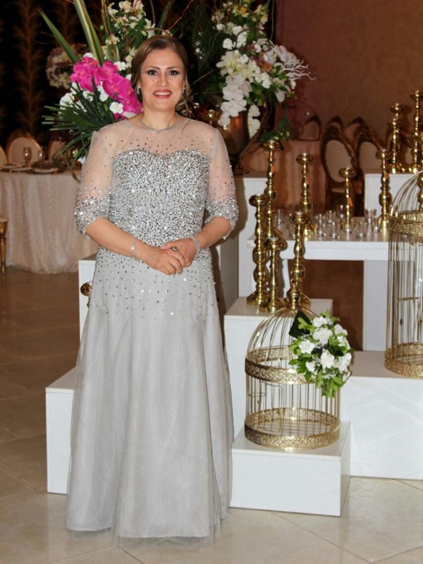 A-Line/Princess Sheer Neck Chiffon 1/2 Sleeves Floor-Length Mother of the Bride Dresses
