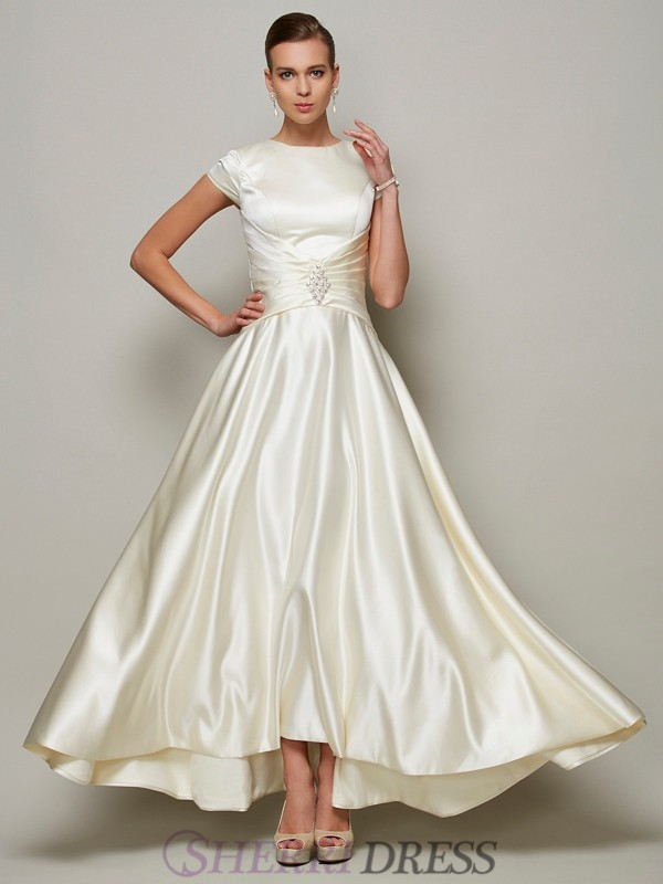 A-Line/Princess Scoop Satin Short Sleeves Floor-Length Mother of the Bride Dresses