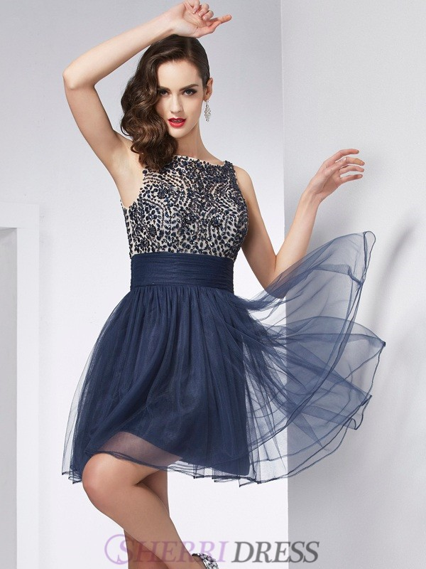 Sheath/Column Bateau Tulle Sleeveless Short/Mini Dresses