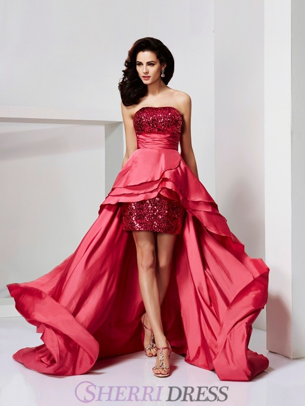 A-Line/Princess Strapless Taffeta Sleeveless Asymmetrical Dresses