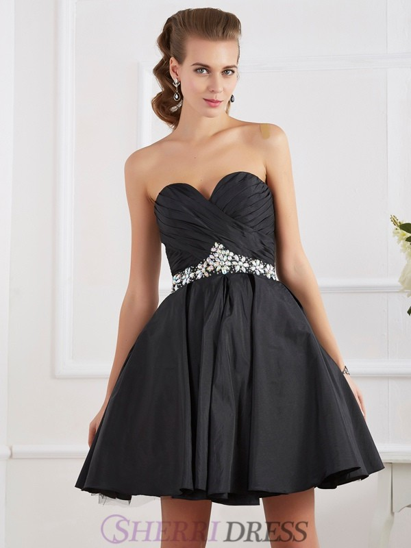 A-Line/Princess Sweetheart Taffeta Sleeveless Short/Mini Dresses