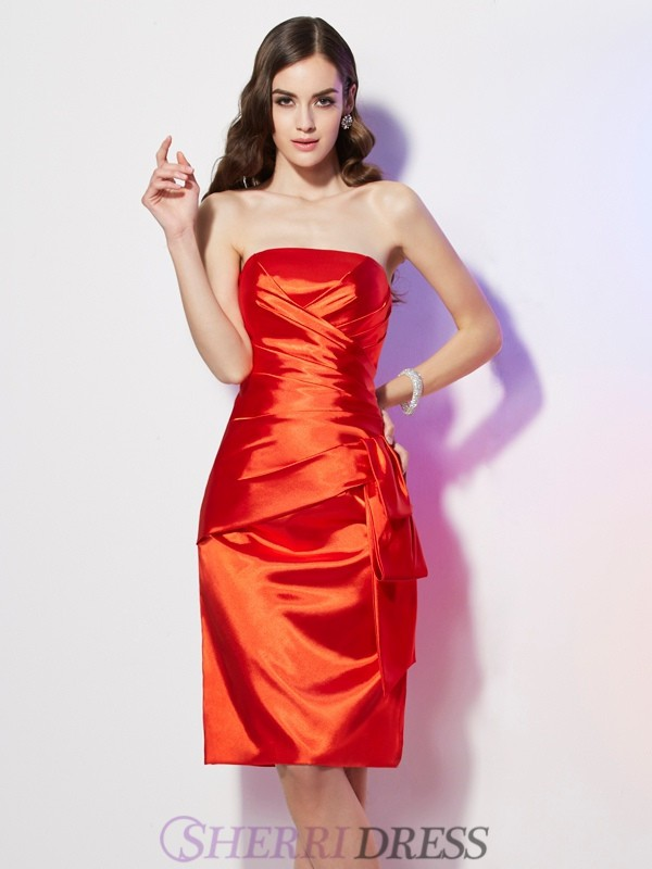 Sheath/Column Strapless Elastic Woven Satin Sleeveless Short/Mini Homecoming Dresses