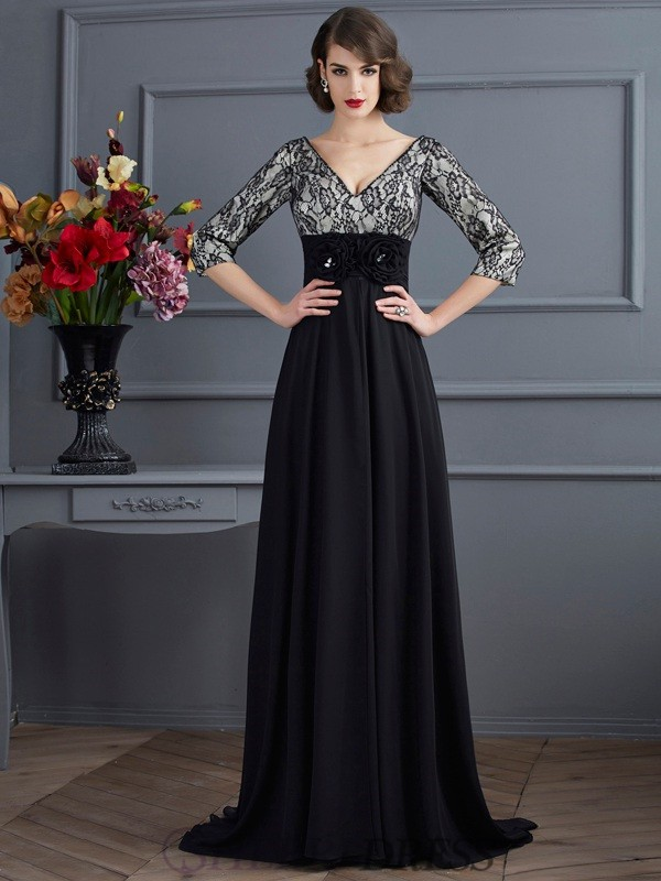 Sheath/Column V-neck Chiffon 3/4 Sleeves Sweep/Brush Train Dresses