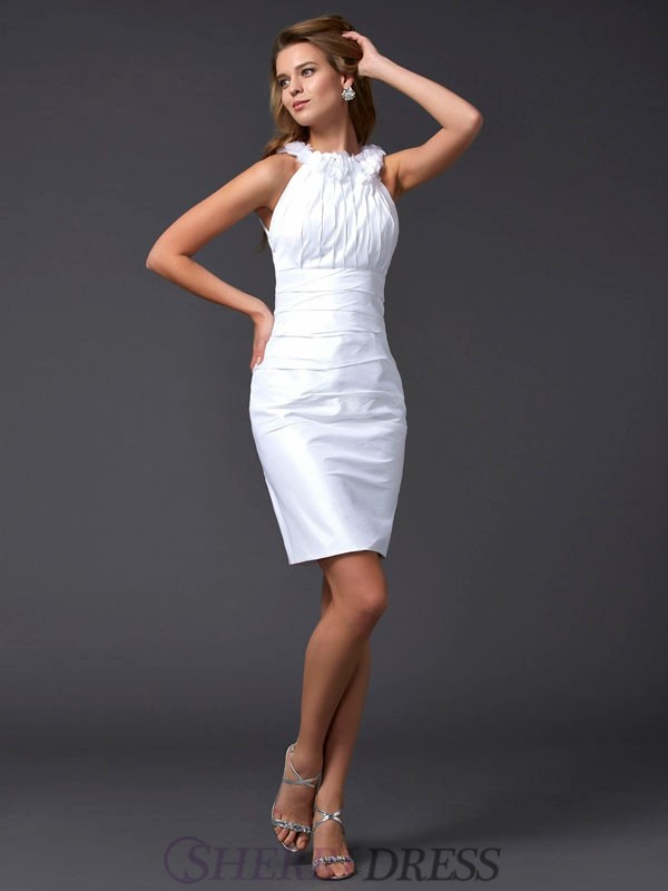 Sheath/Column High Neck Taffeta Sleeveless Short/Mini Dresses