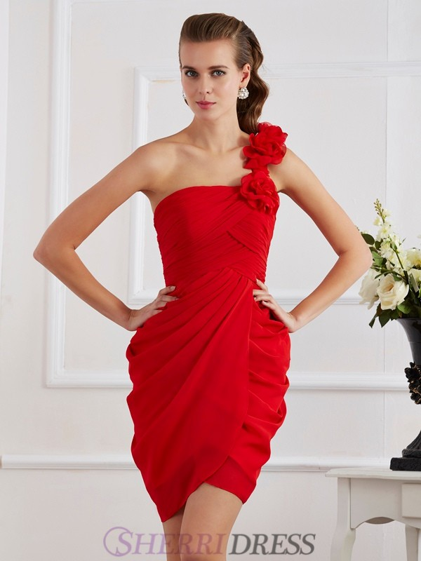 Sheath/Column One-Shoulder Chiffon Sleeveless Short/Mini Dresses