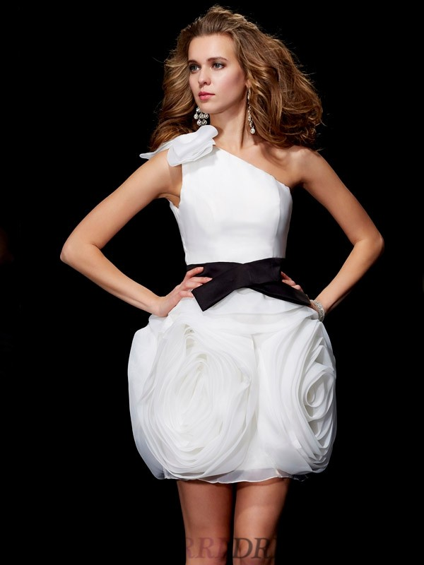 Sheath/Column One-Shoulder Tulle Sleeveless Short/Mini Dresses