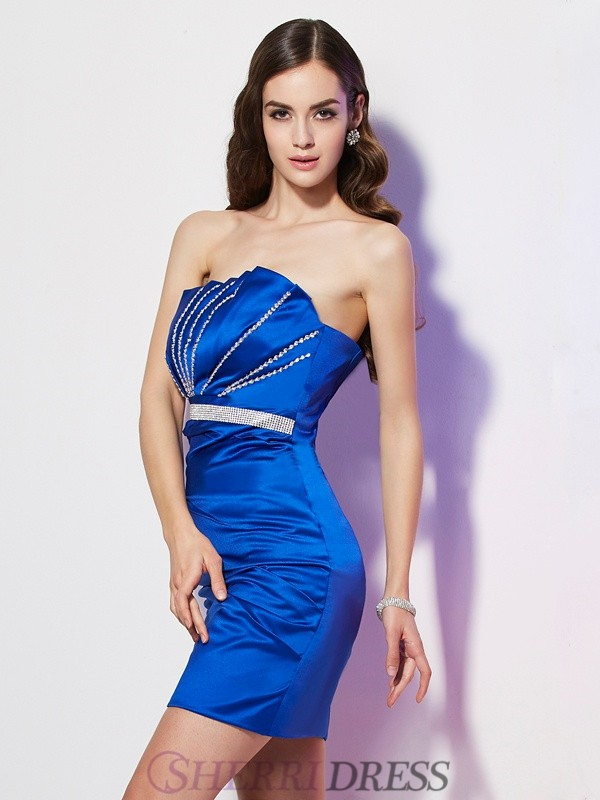 Sheath/Column Strapless Satin Sleeveless Short/Mini Dresses