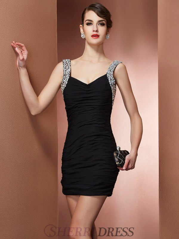 Sheath/Column Straps Chiffon Sleeveless Short/Mini Dresses
