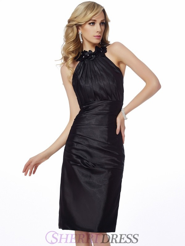 Sheath/Column Bateau Elastic Woven Satin Sleeveless Knee-Length Dresses
