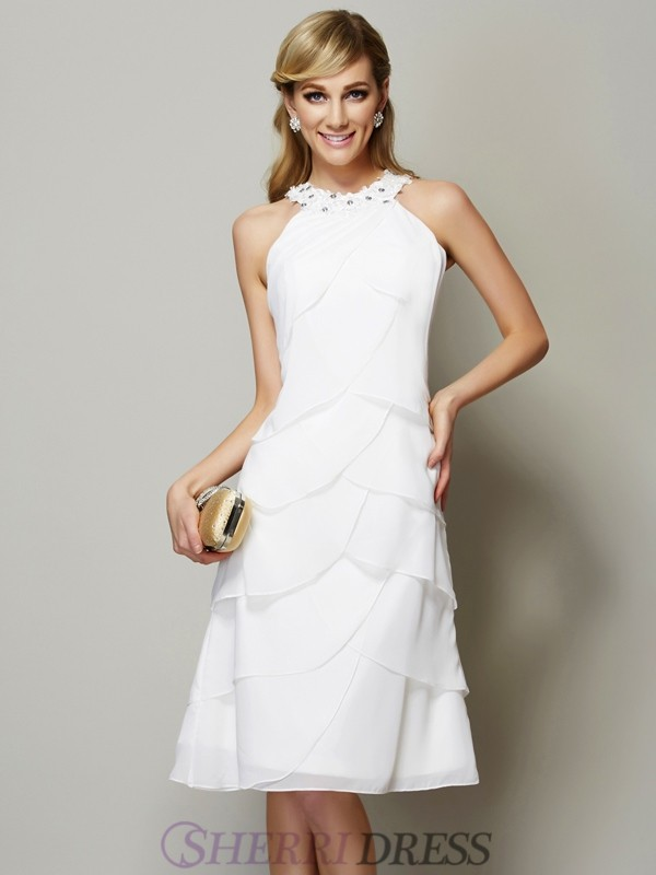 Sheath/Column Bateau Chiffon Sleeveless Knee-Length Dresses