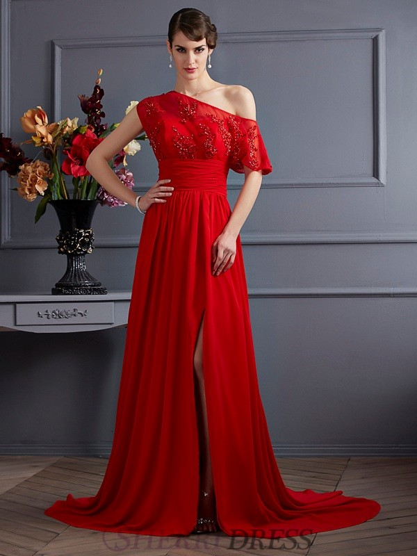 A-Line/Princess One-Shoulder Chiffon Sleeveless Court Train Dresses