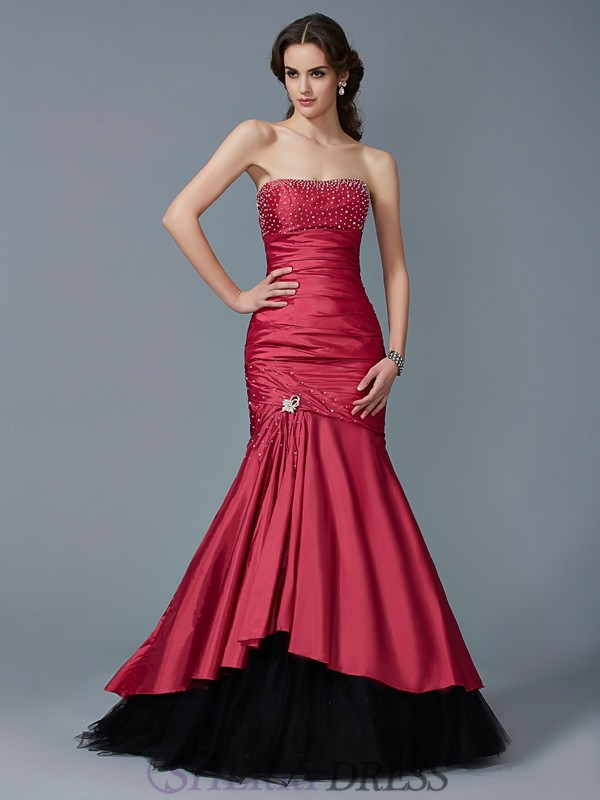 Trumpet/Mermaid Strapless Taffeta Sleeveless Floor-Length Dresses