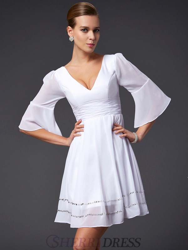 A-Line/Princess V-neck Chiffon 1/2 Sleeves Short/Mini Dresses