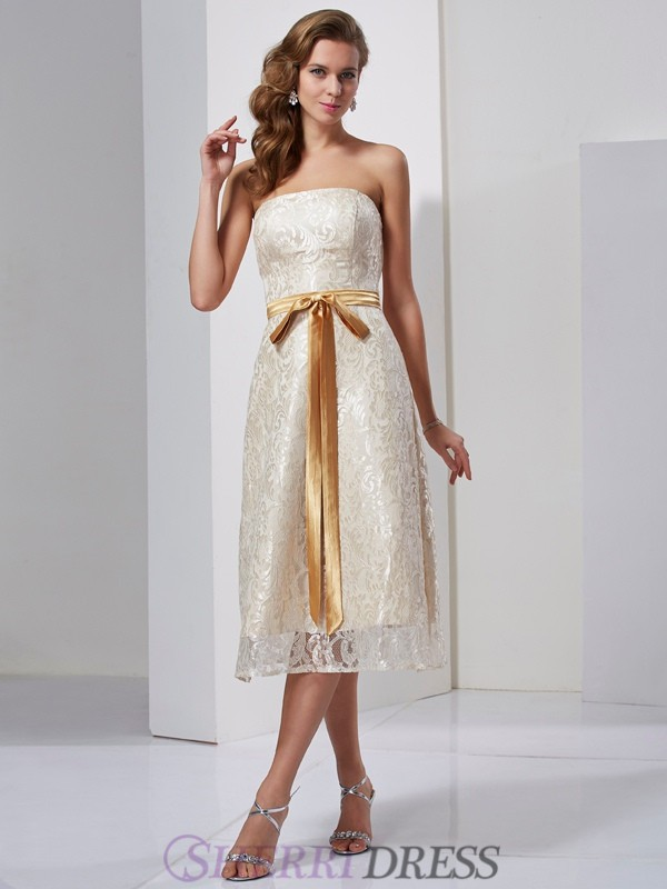 Sheath/Column Strapless Satin Sleeveless Knee-Length Dresses