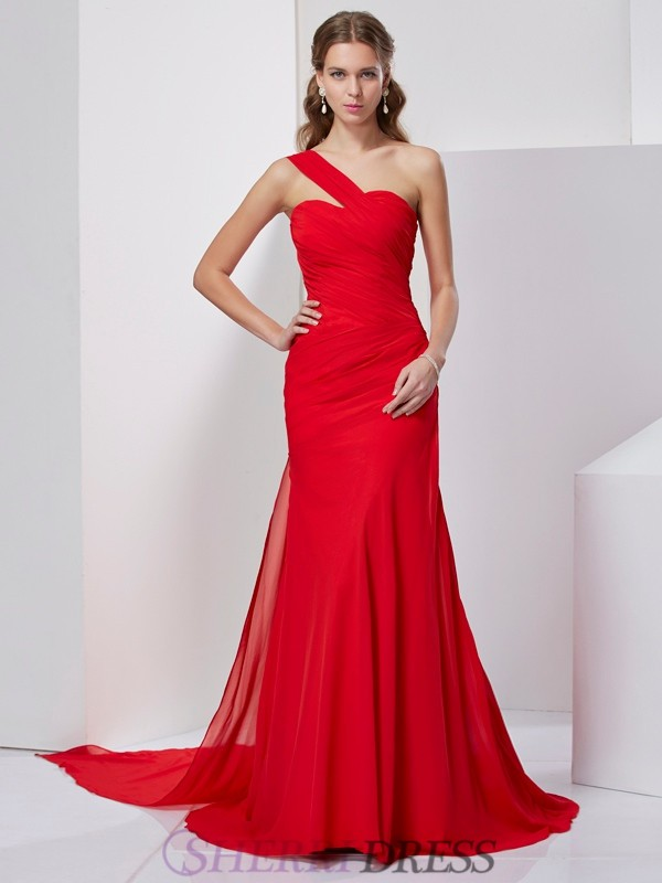 A-Line/Princess One-Shoulder Chiffon Sleeveless Sweep/Brush Train Dresses
