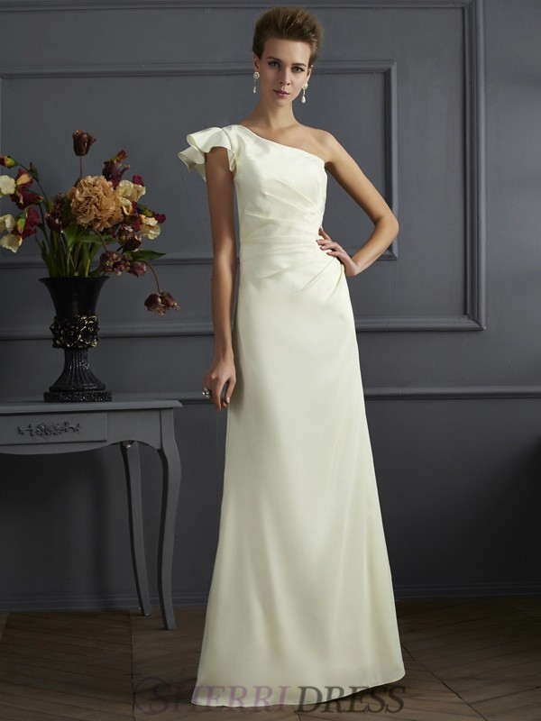 Sheath/Column One-Shoulder Elastic Woven Satin Sleeveless Floor-Length Bridesmaid Dresses