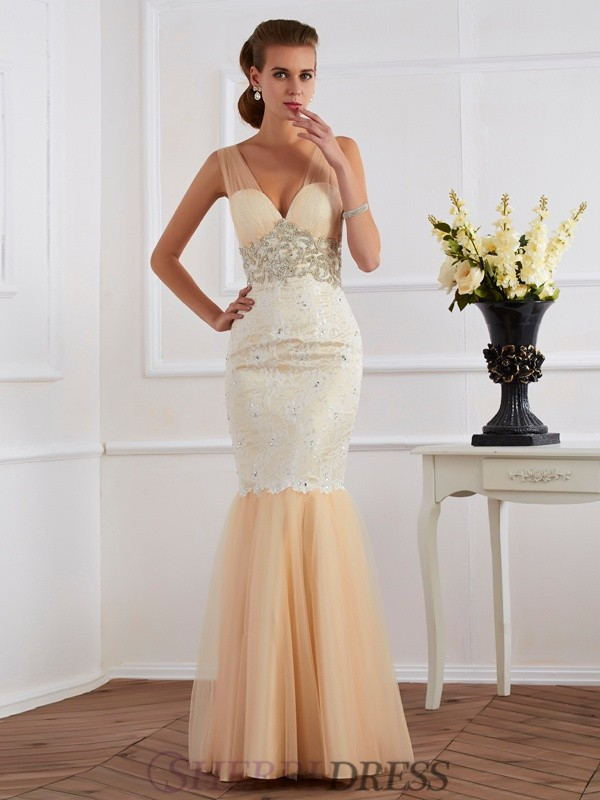 Trumpet/Mermaid Straps Net Sleeveless Floor-Length Dresses