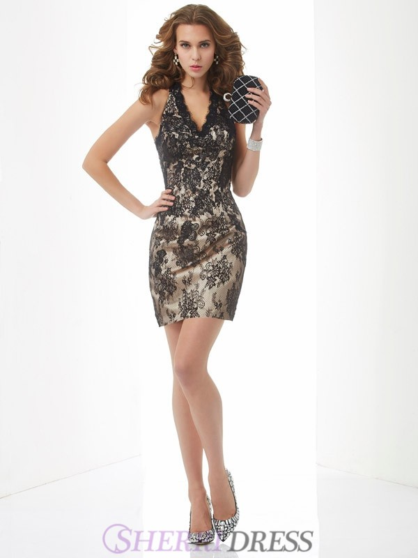 Sheath/Column Halter Lace Sleeveless Short/Mini Dresses