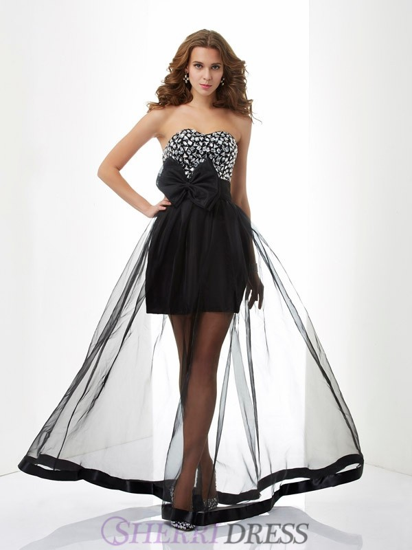 A-Line/Princess Sweetheart Organza Sleeveless Floor-Length Dresses