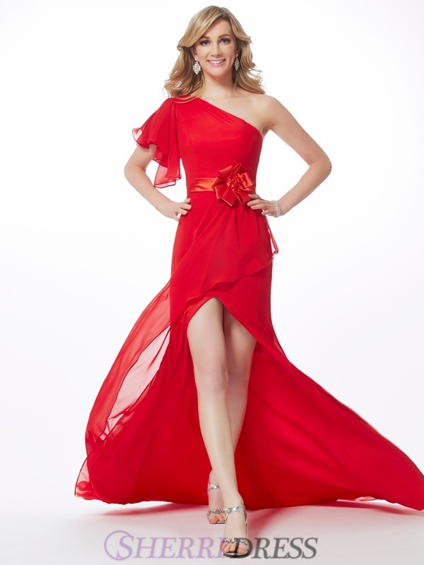 Trumpet/Mermaid One-Shoulder Chiffon Sleeveless Sweep/Brush Train Dresses