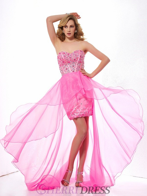 A-Line/Princess Sweetheart Organza Sleeveless Asymmetrical Dresses