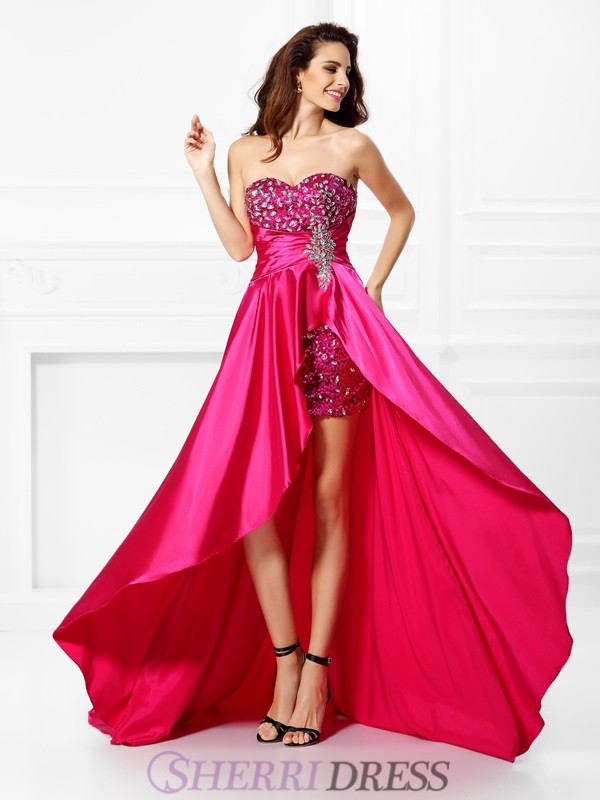 A-Line/Princess Sweetheart Elastic Woven Satin Sleeveless Asymmetrical Prom Dresses