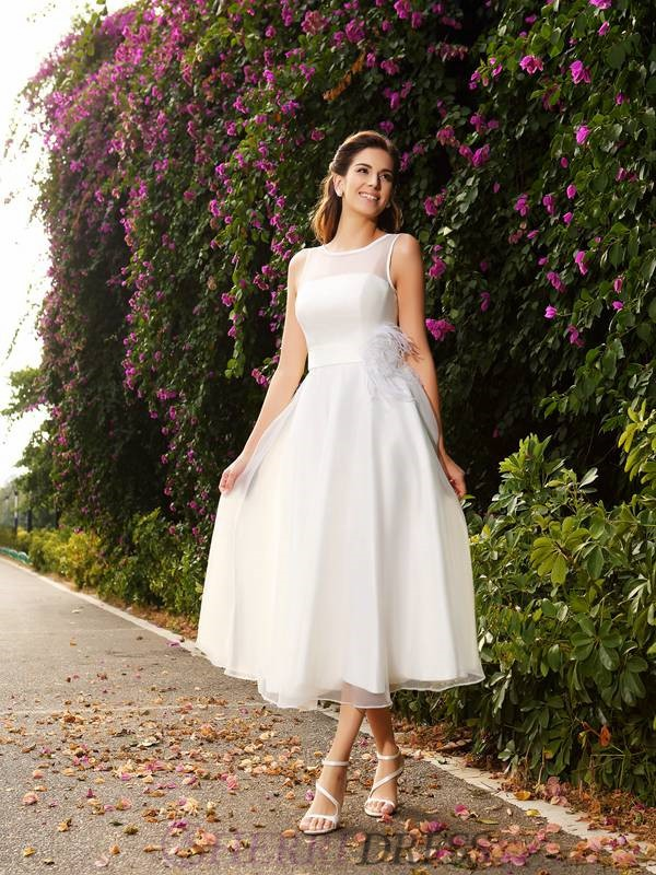 A-Line/Princess Bateau Satin Sleeveless Ankle-Length Wedding Dresses