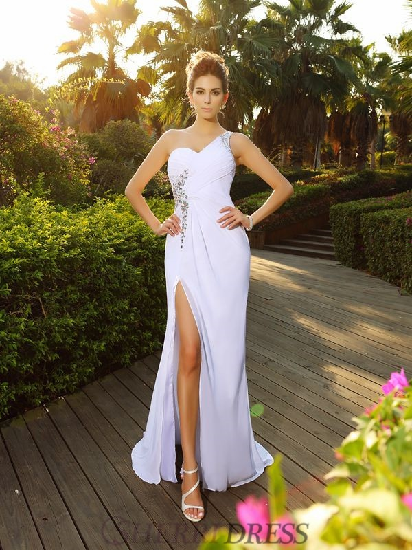 A-Line/Princess One-Shoulder Chiffon Sleeveless Court Train Wedding Dresses