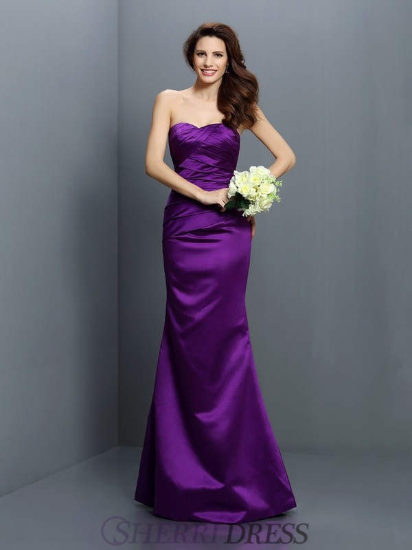 Trumpet/Mermaid Strapless Satin Sleeveless Floor-Length Bridesmaid Dresses