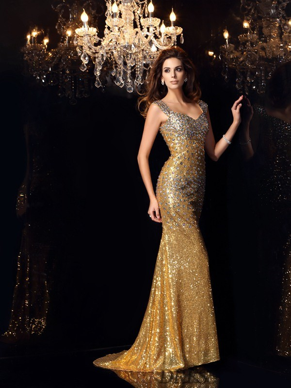 Trumpet/Mermaid Straps Sequins Sleeveless Floor-Length Dresses