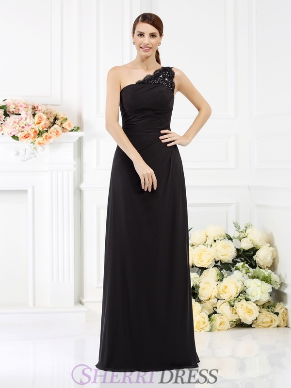 Sheath/Column One-Shoulder Satin Sleeveless Floor-Length Bridesmaid Dresses