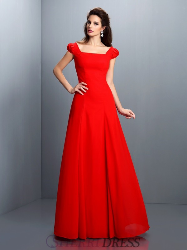 A-Line/Princess Bateau Satin Short Sleeves Floor-Length Dresses
