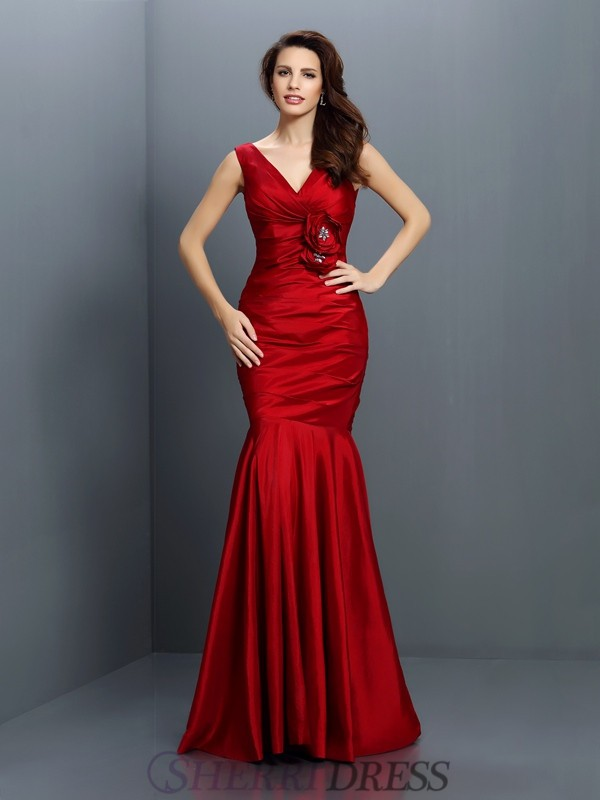 Trumpet/Mermaid V-neck Taffeta Sleeveless Floor-Length Bridesmaid Dresses
