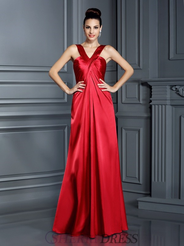 A-Line/Princess Straps Elastic Woven Satin Sleeveless Floor-Length Bridesmaid Dresses