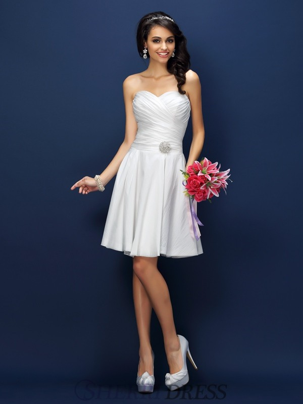A-Line/Princess Sweetheart Taffeta Sleeveless Short/Mini Bridesmaid Dresses