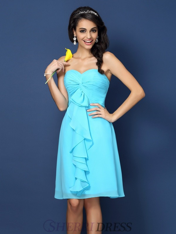 A-Line/Princess Sweetheart Chiffon Sleeveless Knee-Length Bridesmaid Dresses
