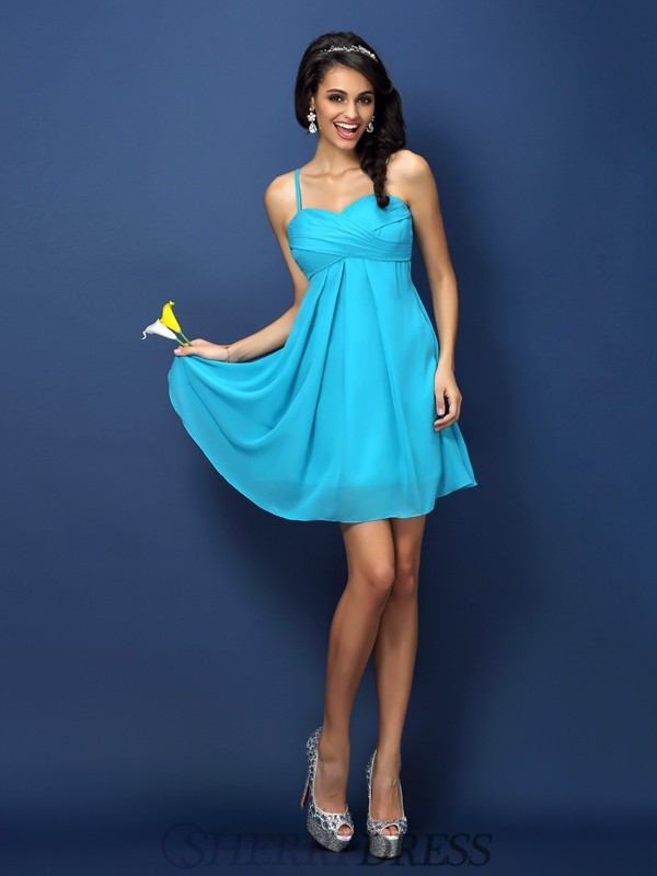 A-Line/Princess Spaghetti Straps Chiffon Sleeveless Short/Mini Bridesmaid Dresses