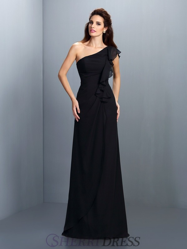 Sheath/Column One-Shoulder Chiffon Sleeveless Floor-Length Bridesmaid Dresses