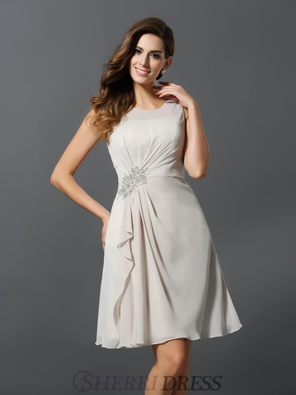 A-Line/Princess Scoop Chiffon Sleeveless Short/Mini Bridesmaid Dresses