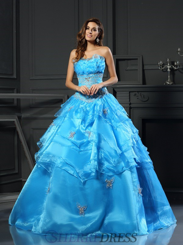 Ball Gown Sweetheart Organza Sleeveless Floor-Length Prom Dresses