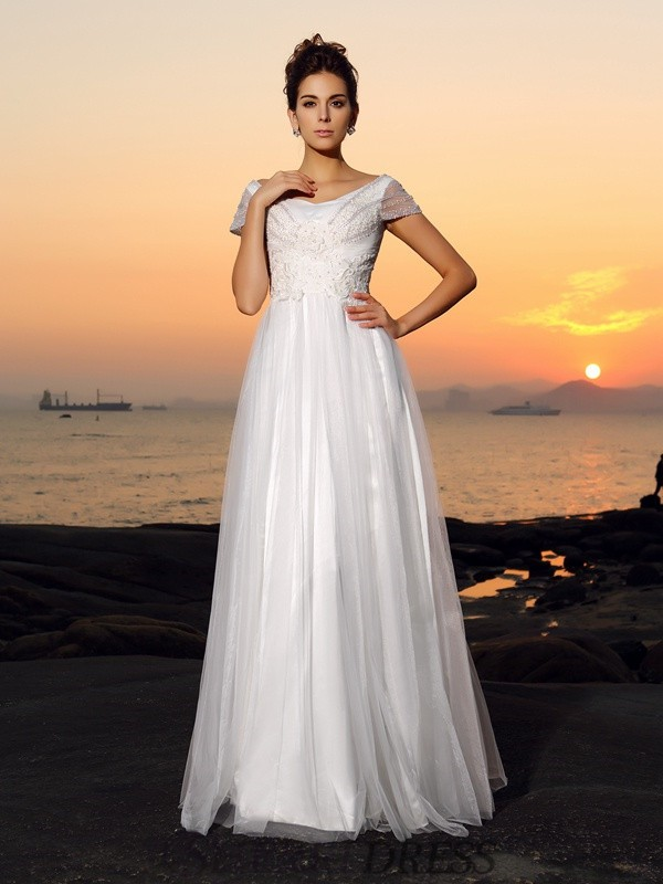 A-Line/Princess Off-the-Shoulder Tulle Short Sleeves Floor-Length Wedding Dresses