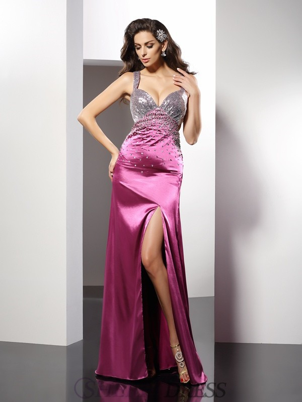 A-Line/Princess Straps Elastic Woven Satin Sleeveless Floor-Length Dresses