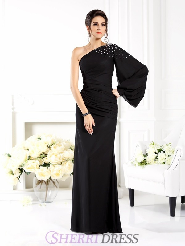 Sheath/Column One-Shoulder Chiffon Long Sleeves Floor-Length Dresses