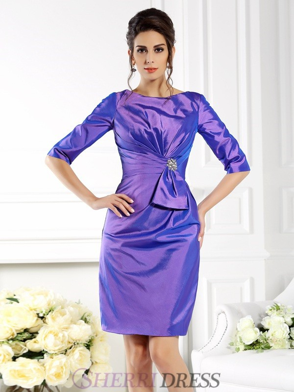 Sheath/Column Bateau Taffeta 1/2 Sleeves Knee-Length Mother of the Bride Dresses