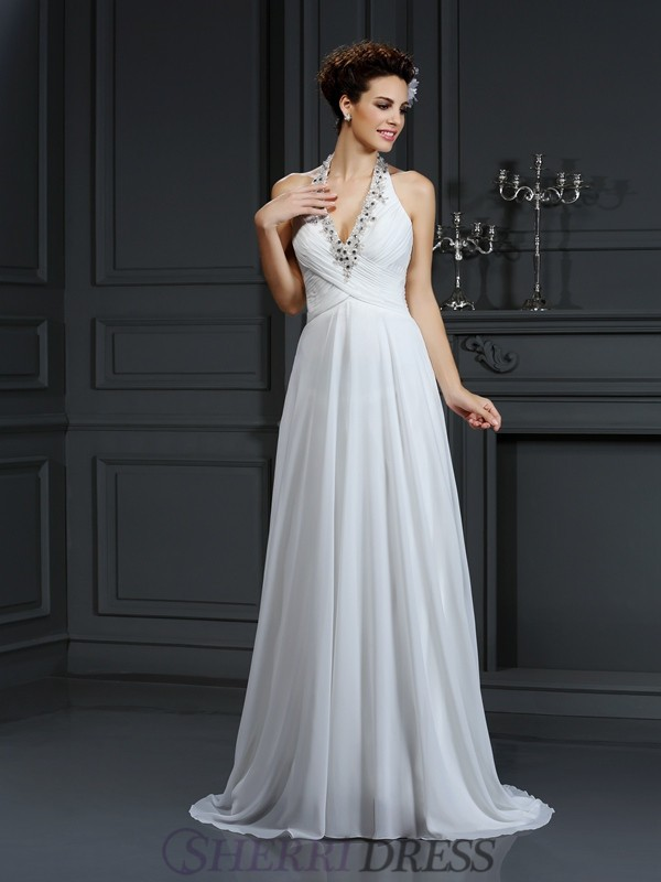 A-Line/Princess Halter Chiffon Sleeveless Court Train Wedding Dresses